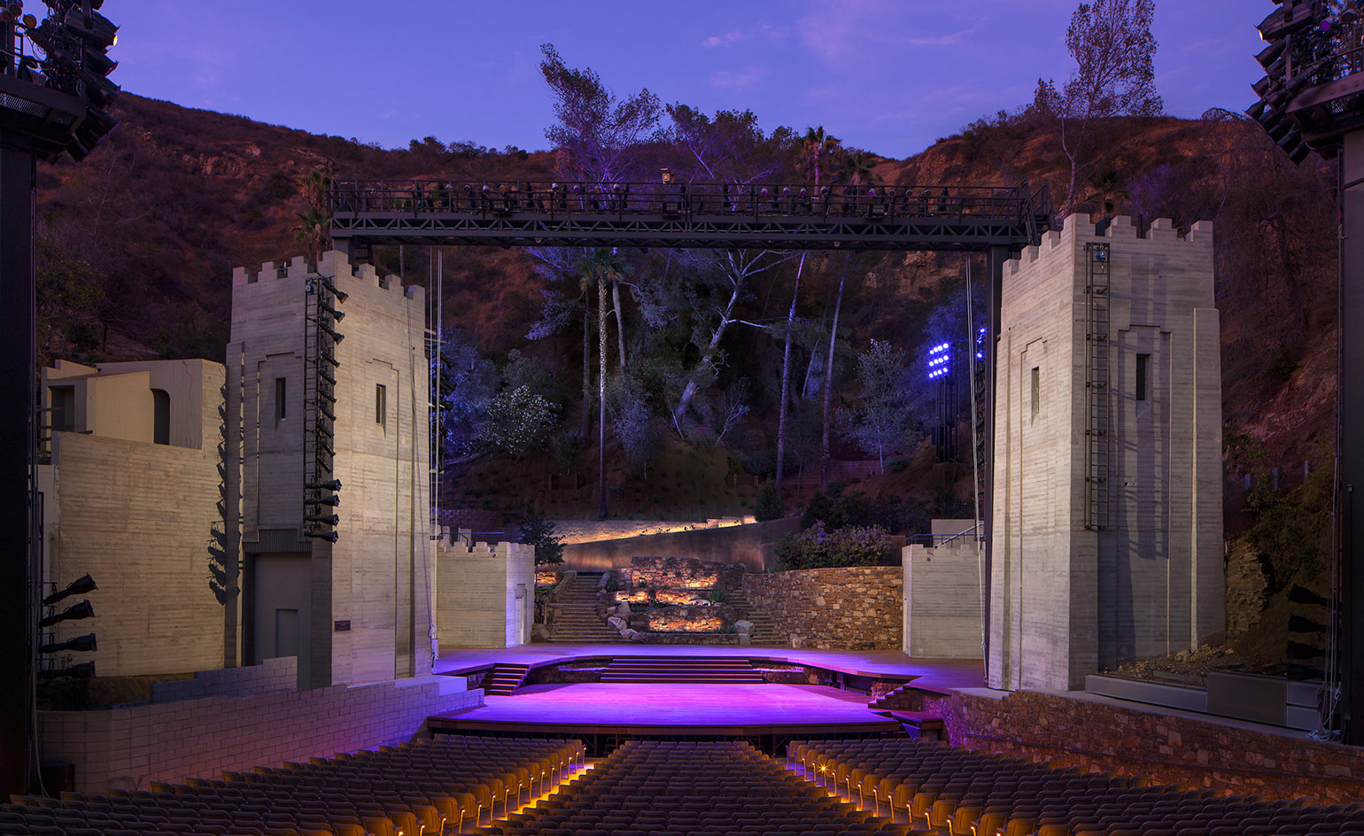 The new amphitheatre stage at night with the natural backdrop