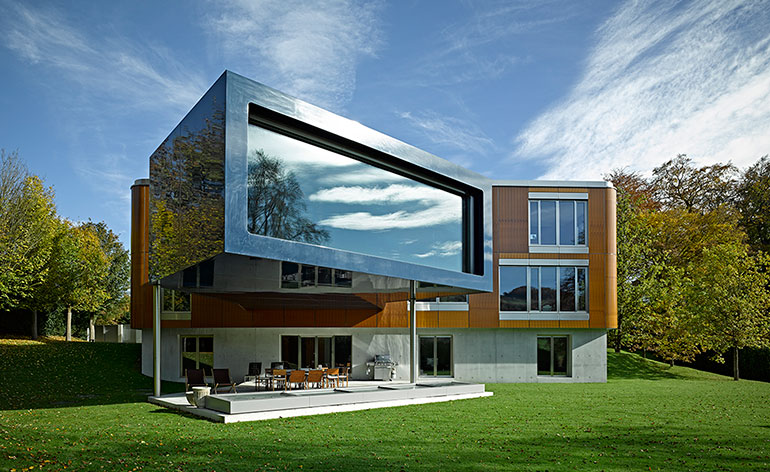 Carbon fibre house inspired by prefab homes wallpaper for Wallpaper with home design