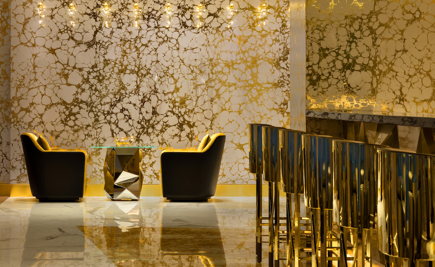 Image result for gold wallpaper with interior designs