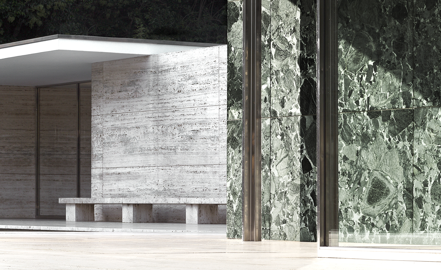 mies van der rohe 39 s barcelona pavilion hits 30 years wallpaper. Black Bedroom Furniture Sets. Home Design Ideas