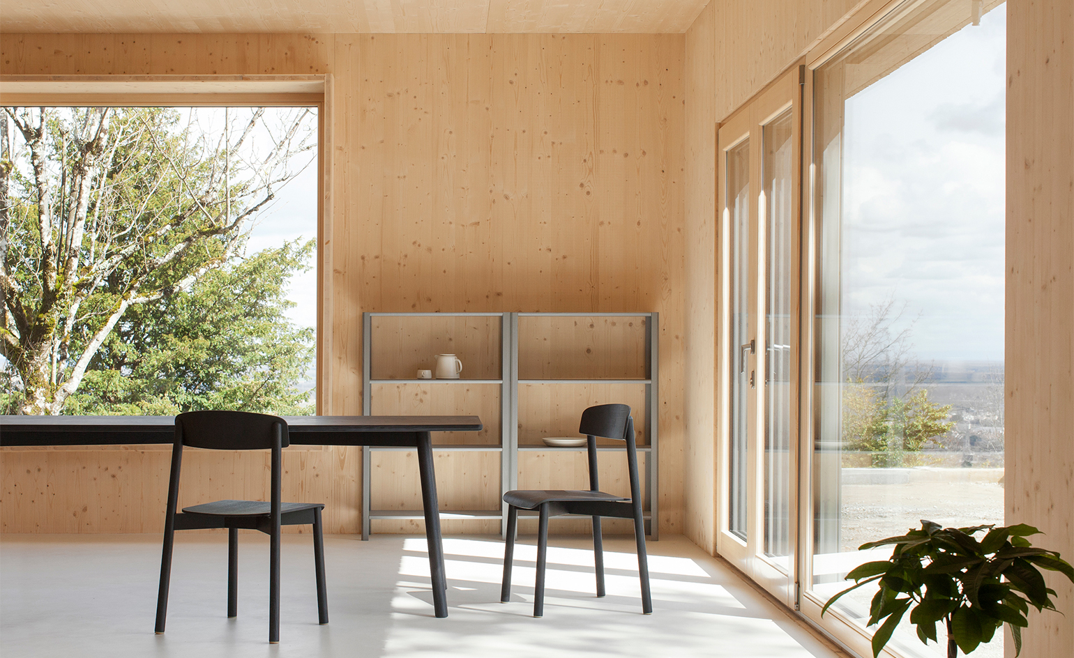 a minimalist sustainable prefabricated wood house in france wallpaper. Black Bedroom Furniture Sets. Home Design Ideas