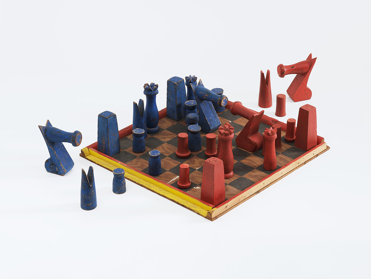 Chess set, c1933, by Alexander Calder, wood and paint