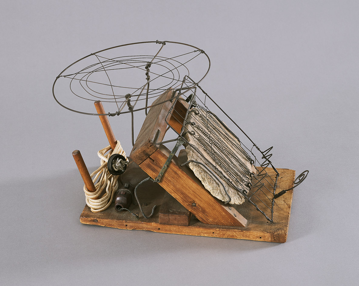 Toaster, c1942, by Alexander Calder, wire, wood, metal, plaster, nails, and screws