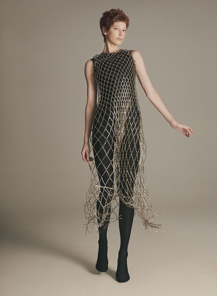 party dresses in gold chainmail by Balenciaga