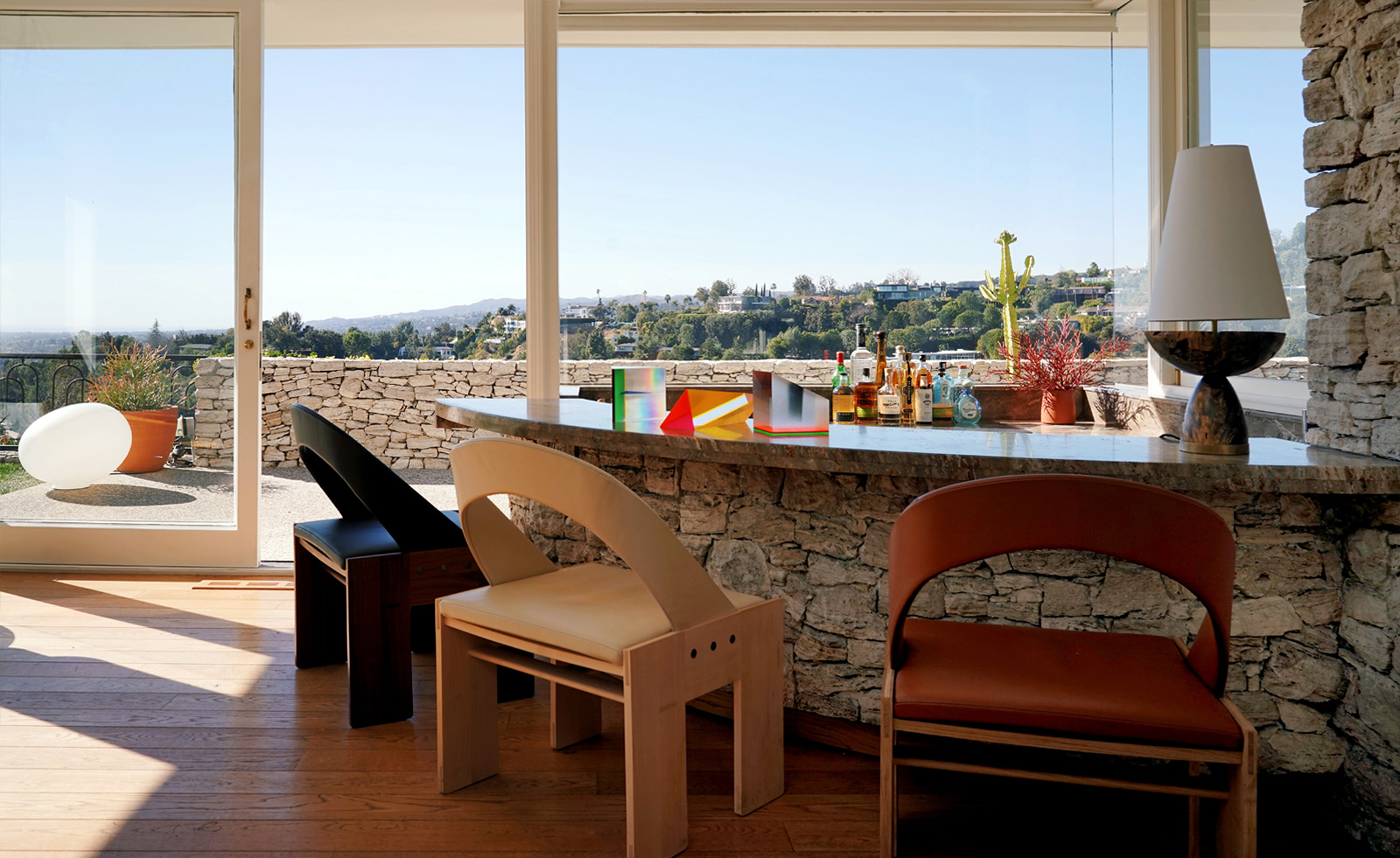 The stone bar at the Trousdale Estate, overlooking Beverly Hills