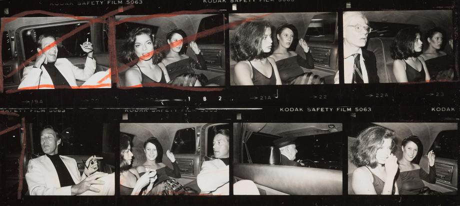 Andy Warhol 1976 contact sheet featuring Halston and Bianca Jagger