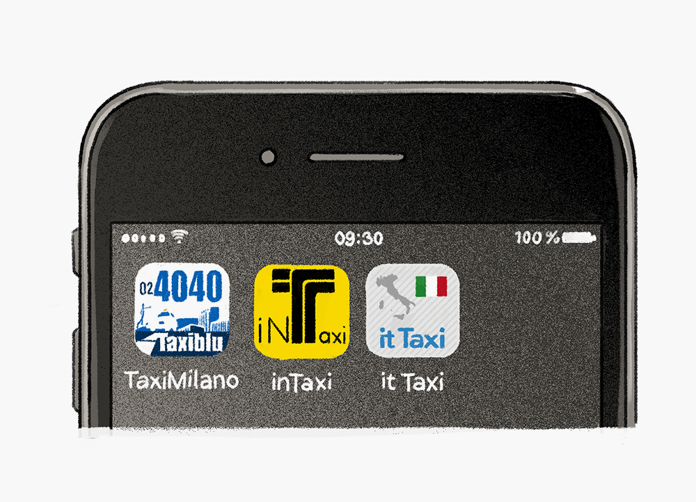 Illustration of a phone showing Taxi cab apps for Salone del Mobile 2018