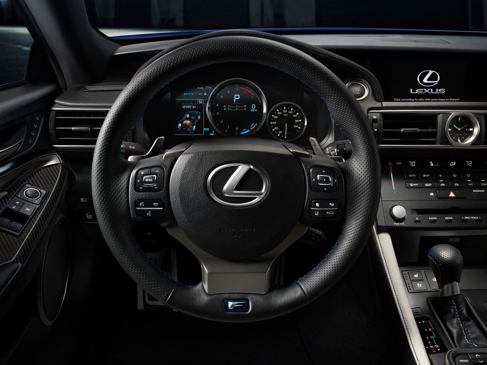 Steering wheel and dashboard inside the Lexus RC F