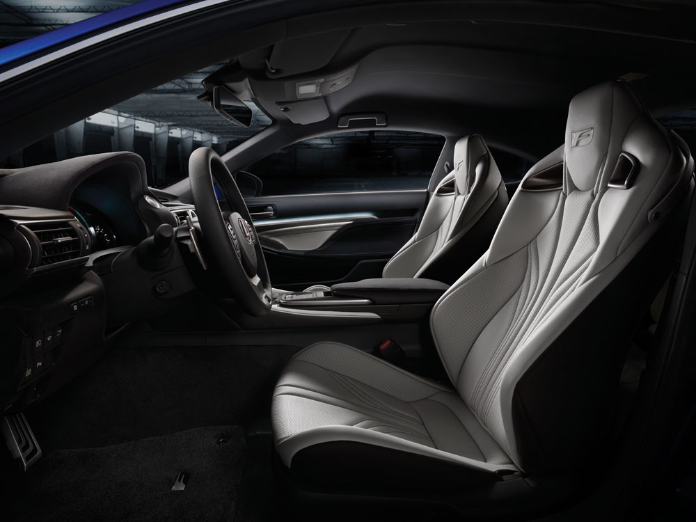 Side view of the interior of the Lexus RC F