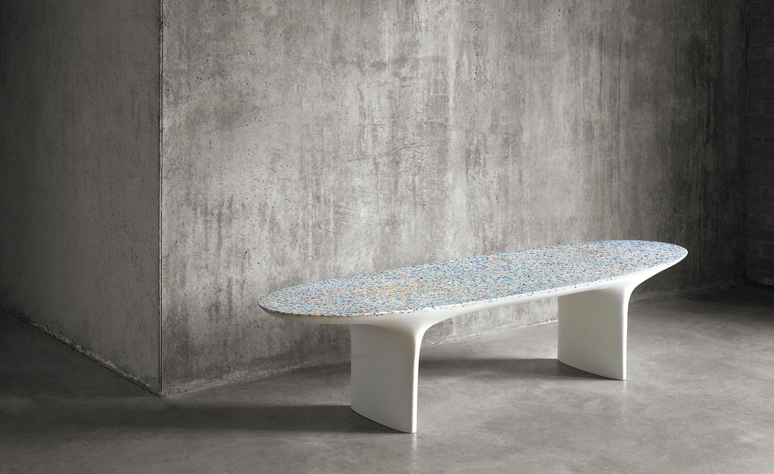 Brodie Neill's Gyro table, created sustainably from ocean plastic waste
