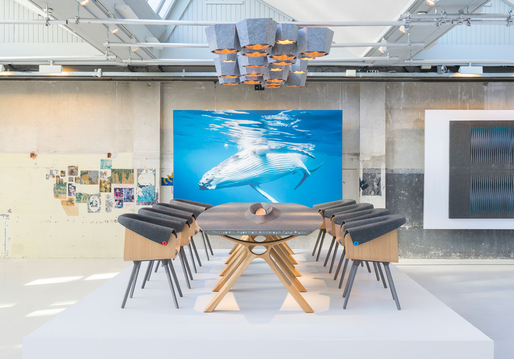 the Plastic Whale Circular Collection; high-end office furniture that is made from plastic fished-out of Amsterdam's canals