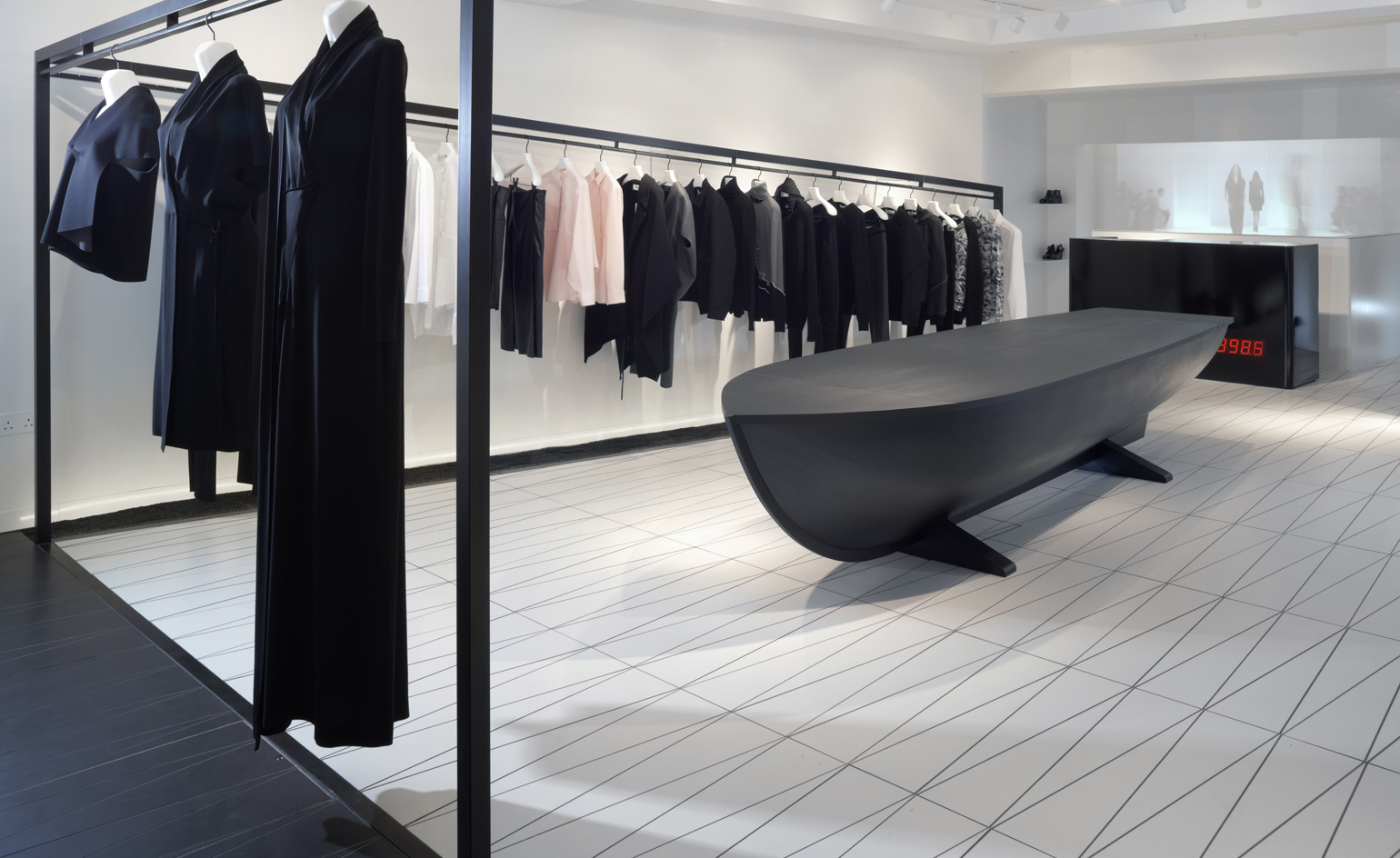 Hussein chalayan opens his first flagship in london for Retail interior designers in london
