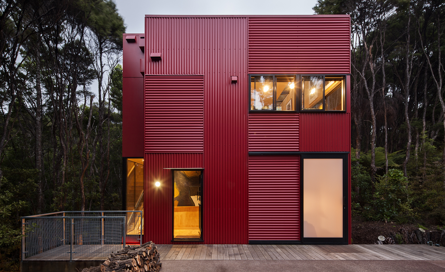 Colour pop: this bright red New Zealand house stands out ...