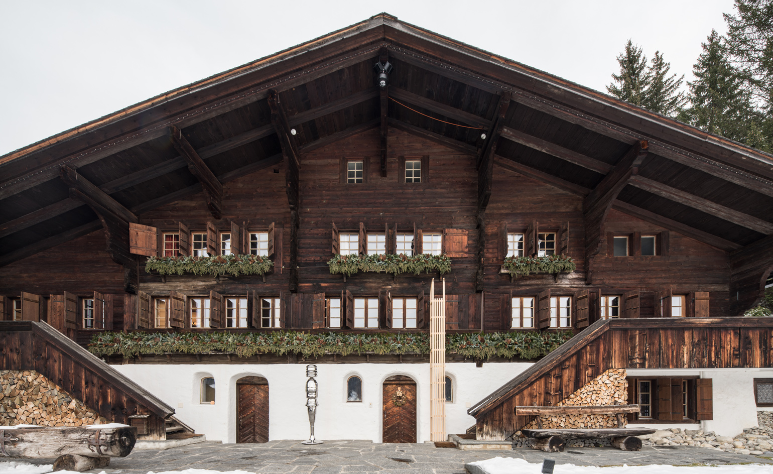 Cold play rolf sachs conjures an alpine adventure in a for Swiss chalet plans