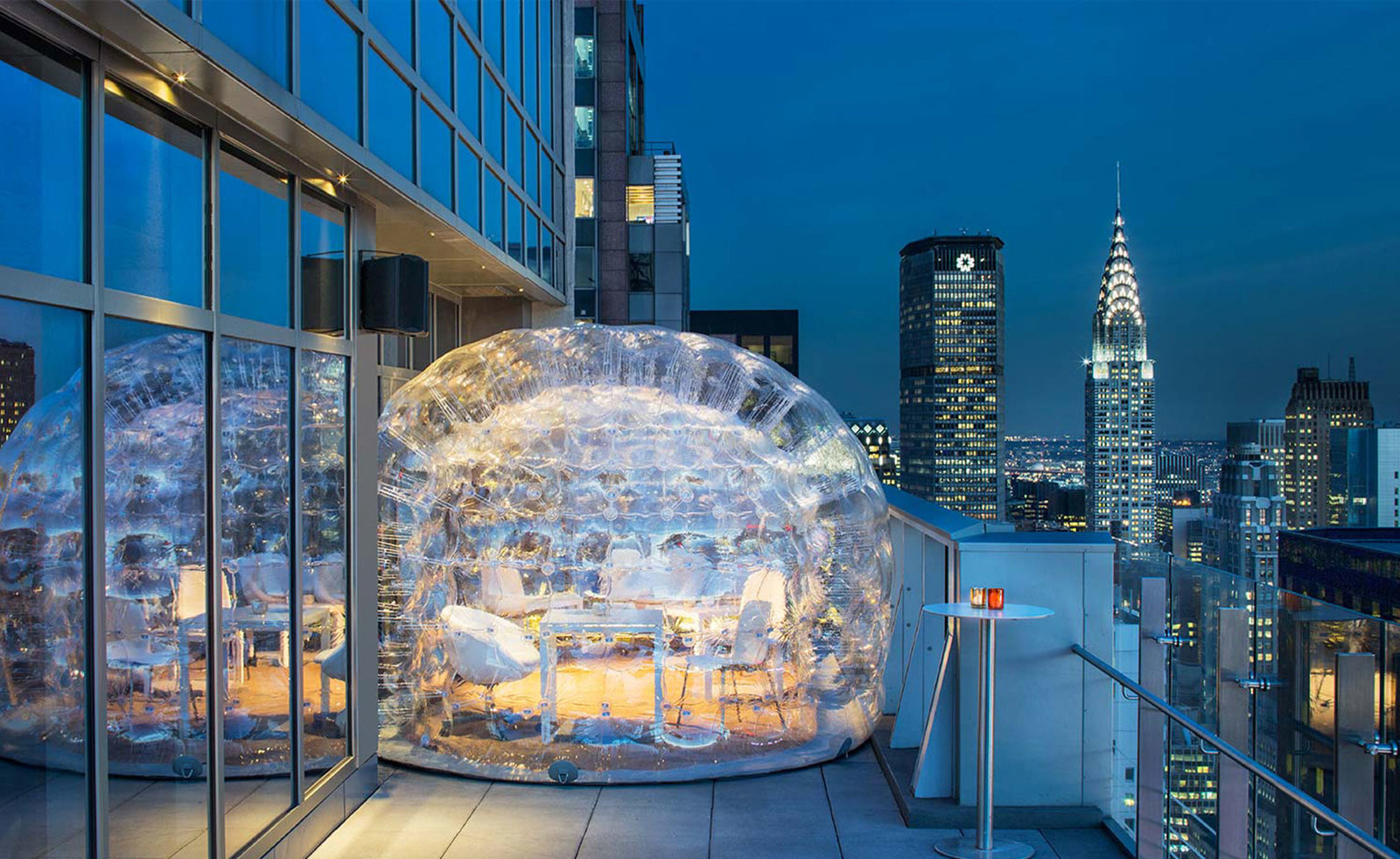 Drink inside a massive bubble at the highest rooftop hotel for Terrace 45 menu