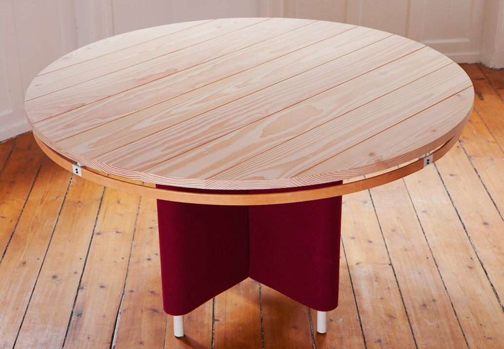 The Era Table Reveals Baastrup S Research Into Textiles And Decoration Base Features A Reversible Fabric Cover While Napkins Can Be Hung From