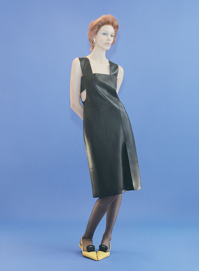 party dresses in black leather by Hermes