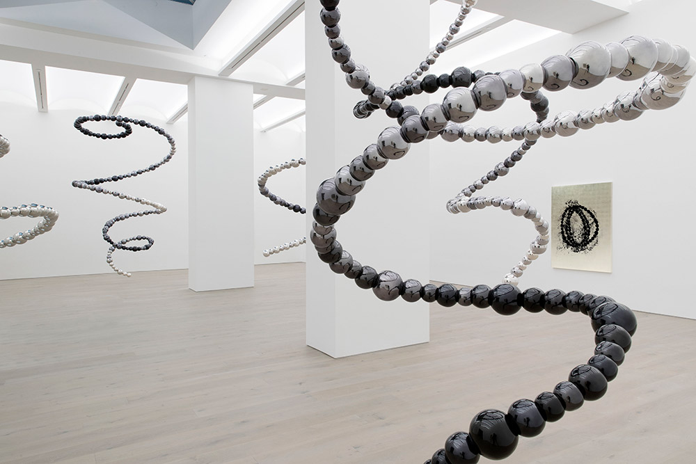 Installation view of 'Dark Matters' by Jean-Michel Othoniel at Galerie Perrotin