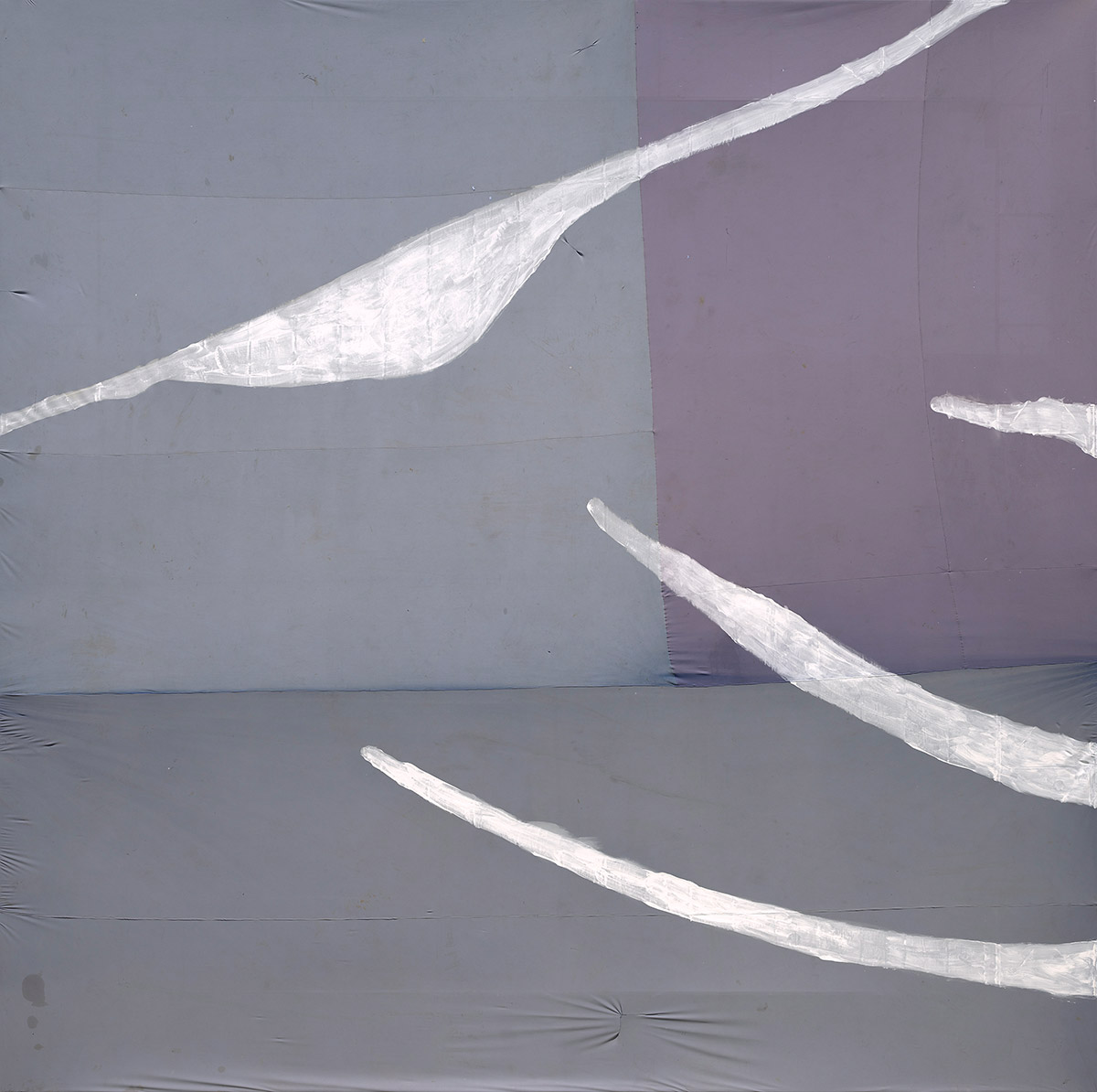 Untitled, 2017, by Julian Schnabel, gesso on found fabric