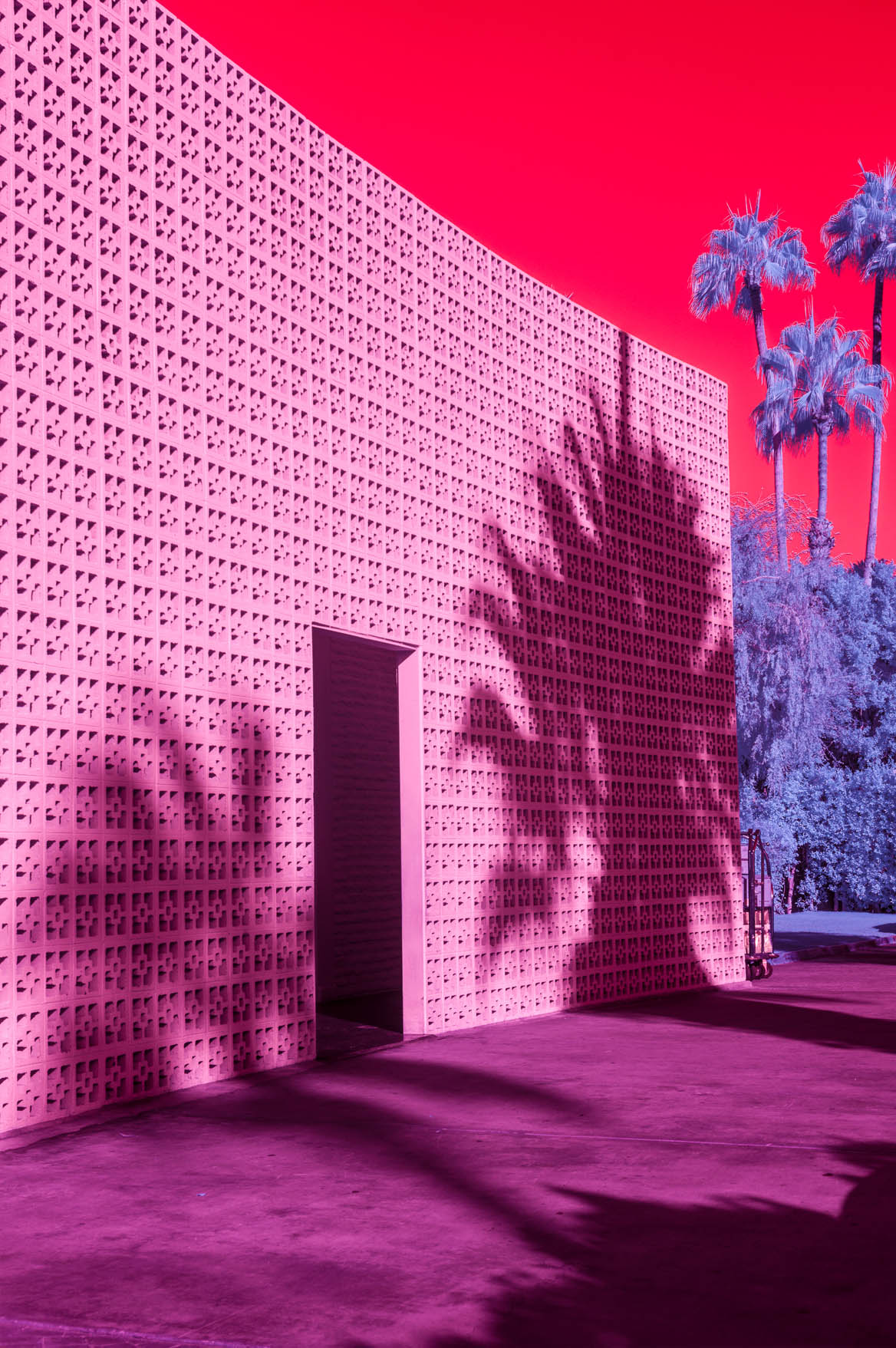 Infrared photograph of the façade of The Parker hotel in Palm Springs