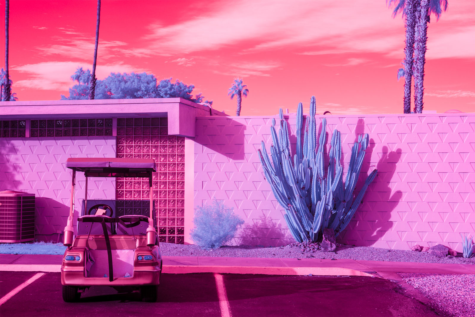 Infrared photograph of a golf cart outside the Seven Lakes Country Club