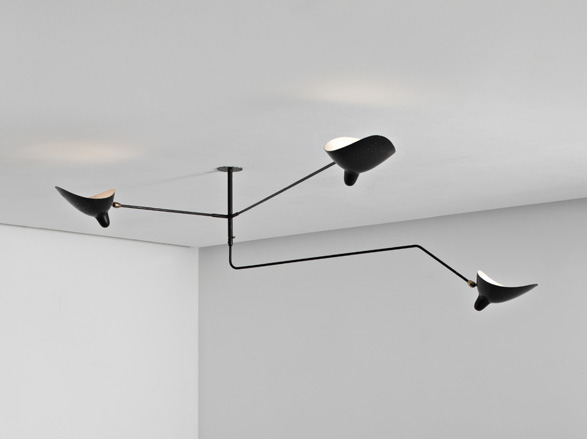 unique three arm ceiling lamp by serge mouille c 1955. Black Bedroom Furniture Sets. Home Design Ideas