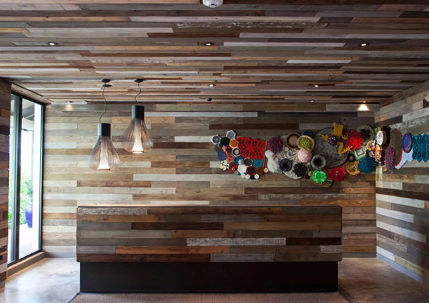 W retreat spa vieques wallpaper for Local reclaimed wood