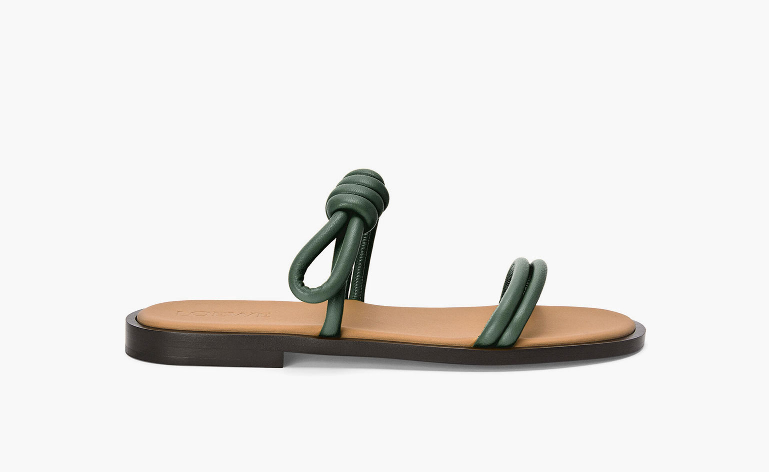 Summer sandals in khaki leather with toggle detail by Loewe