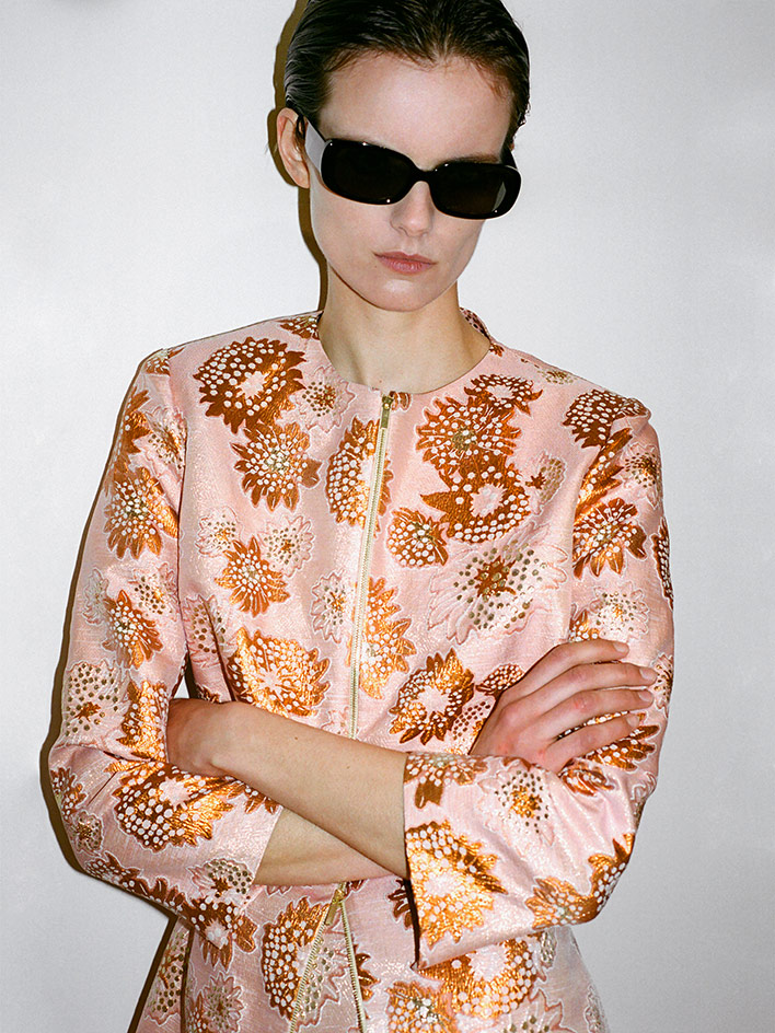 Francon Editions Rose jacket worn by female model