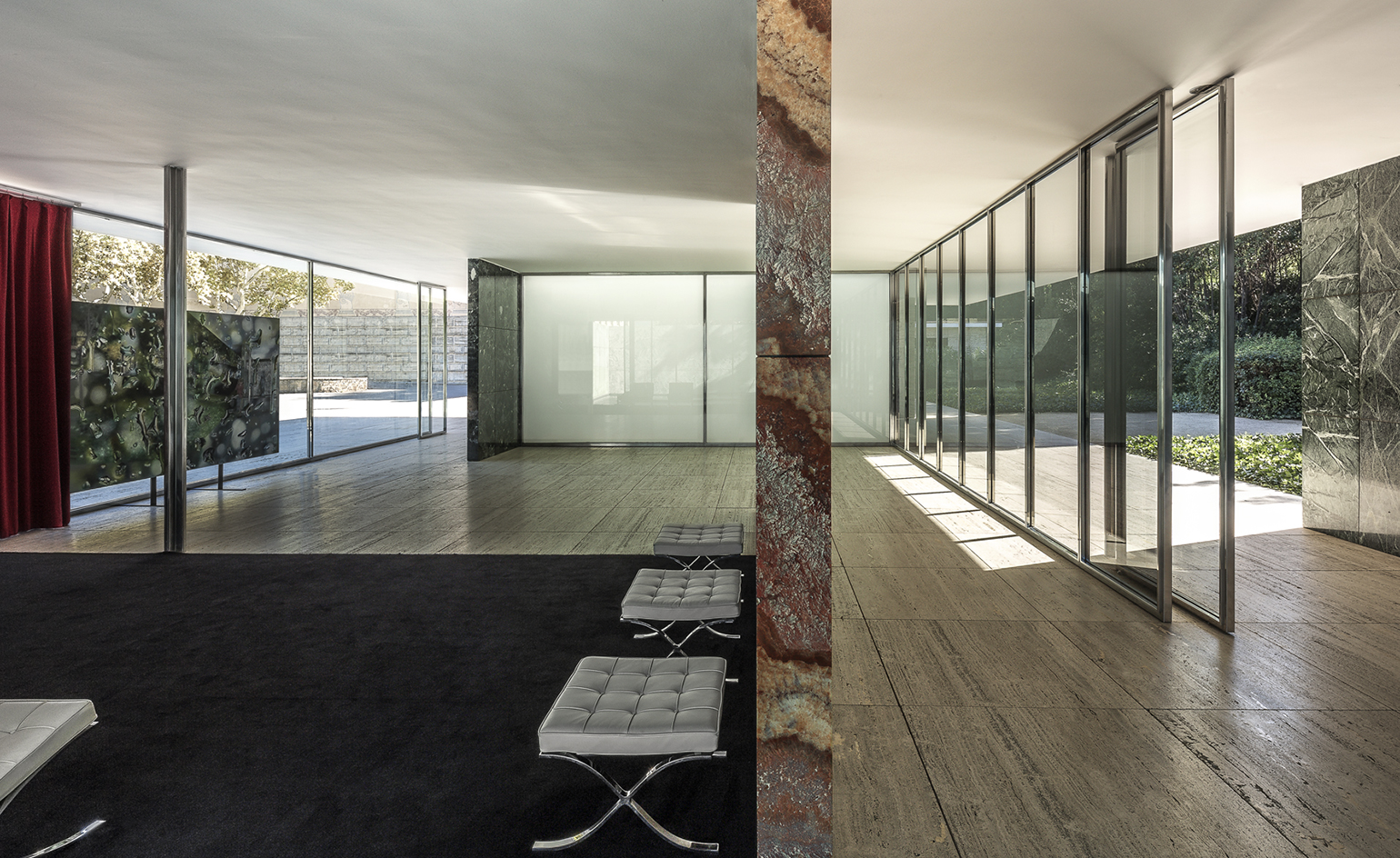 mies van der rohe 39 s barcelona pavilion celebrates 30 years. Black Bedroom Furniture Sets. Home Design Ideas