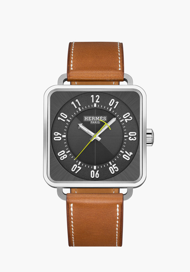 NEW Hermes Carre-H on Natural Barenia Leather Strap (5)
