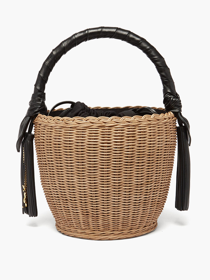 Basket bags with leather handle by Saint Laurent