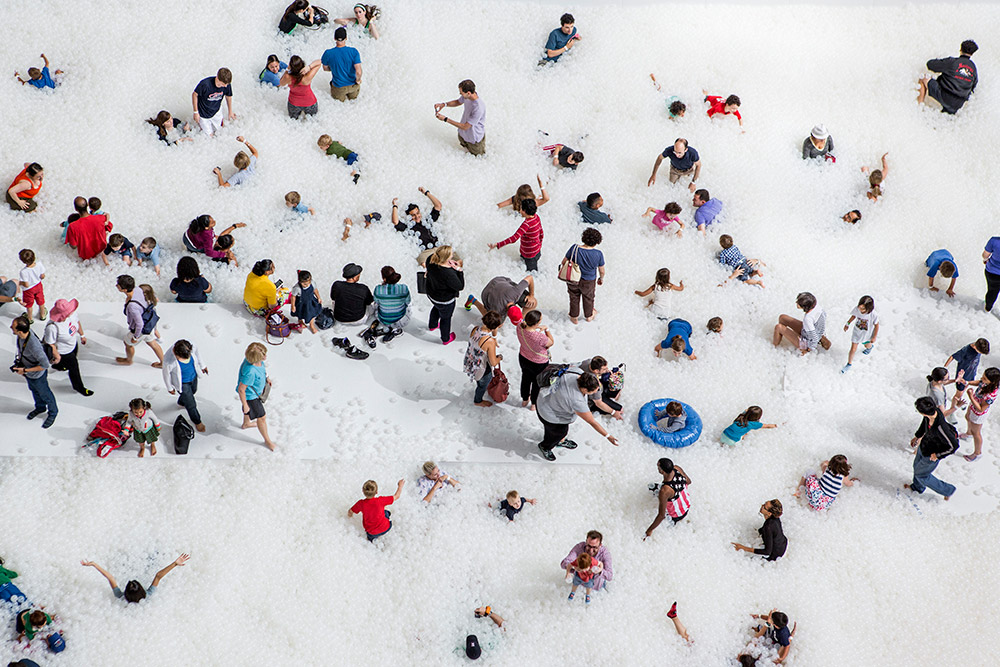 Installation view of The Beach, 2015, by Snarkitecture, at the National Building Museum in Washington DC