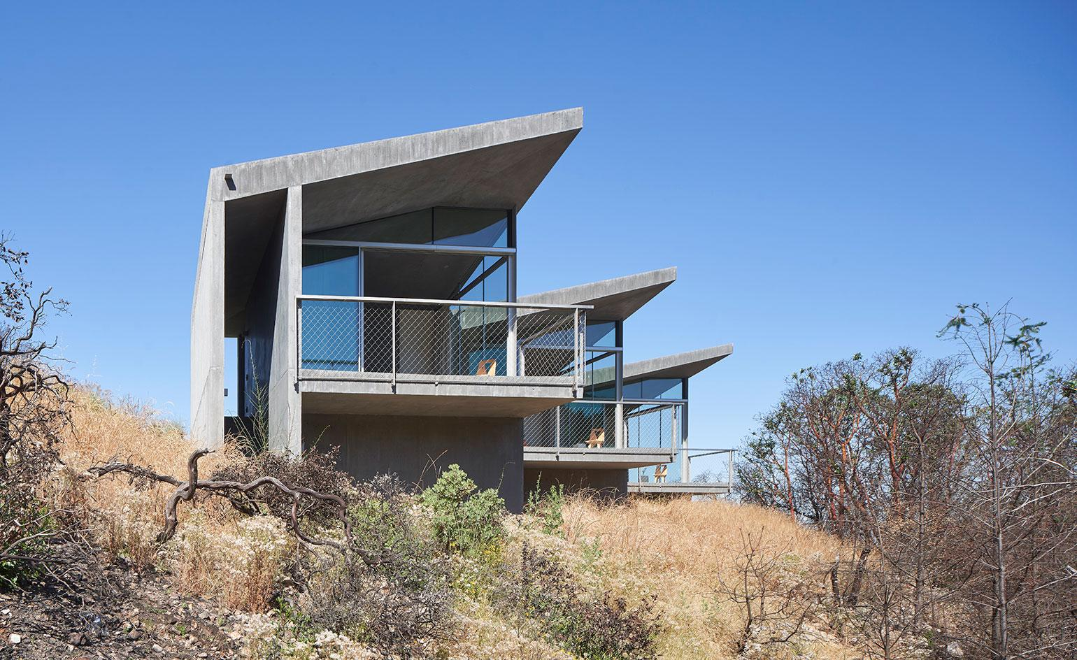 A concrete retreat in California designed by Mork-Ulnes Architects is equipped for climate change
