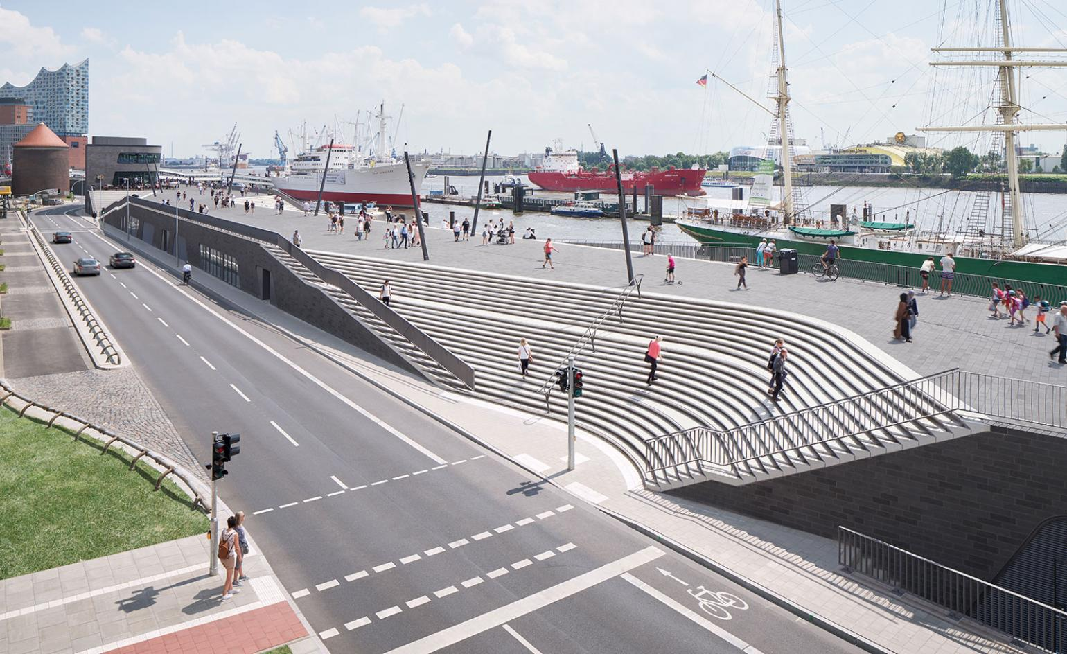Zaha Hadid Architects carves out riverside promenade and flood barrier for Hamburg