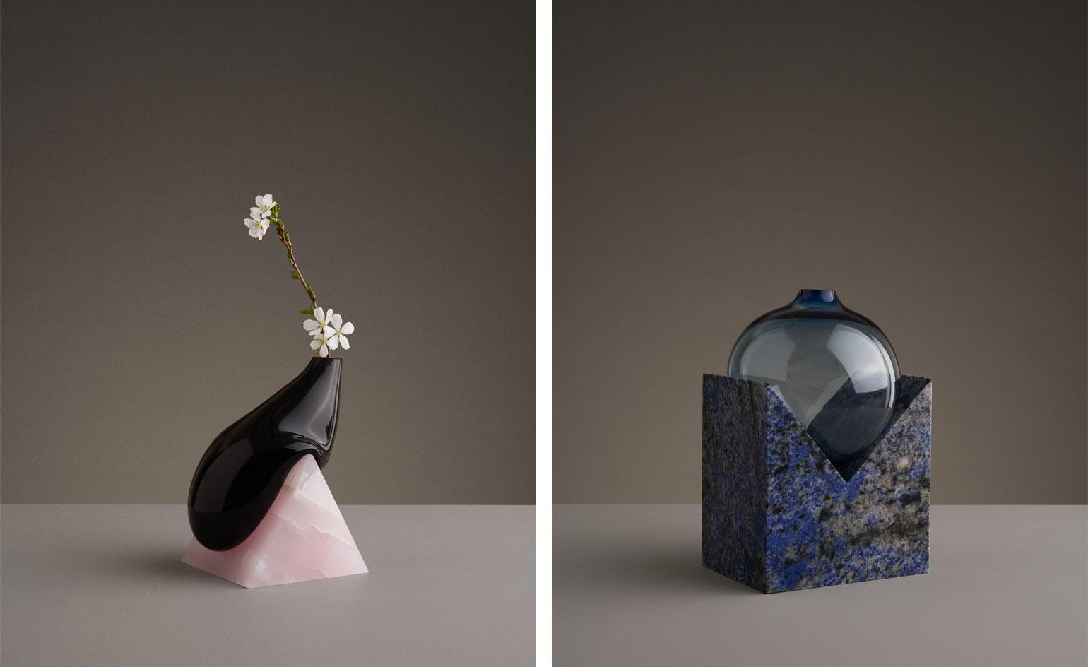Mixed outcome: Studio E.O's 'Indefinite Vases' stunningly combine blown glass and stone
