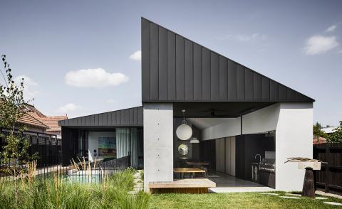 angular roofs at Colonnade House by Splinter Society
