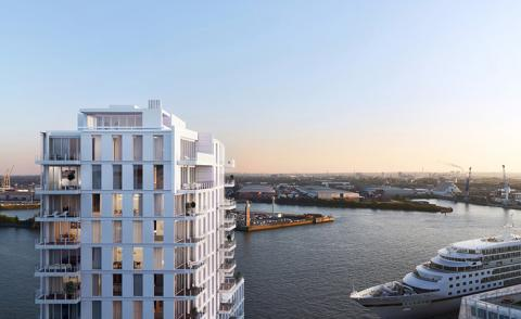 Richard Meier designs mixed-use addition to Hamburg's HafenCity