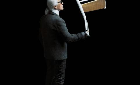 Karl Lagerfeld with Superleggera chair by Gio Ponti for Cassina