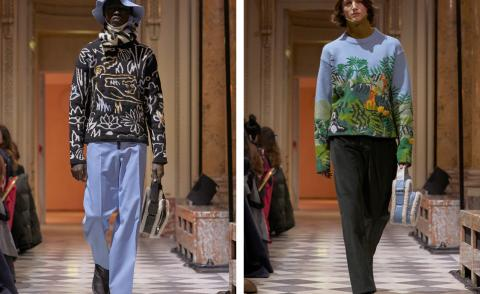 Left, model wears a graphic outline sweatshirt and blue chinos. Right, model wears knitted jungle jumper and brown trousers with a shearling bag.