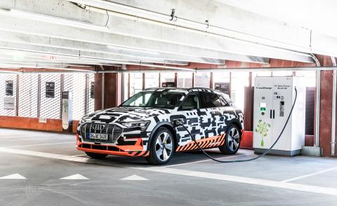 The Audi e-tron SUV electric car on charge