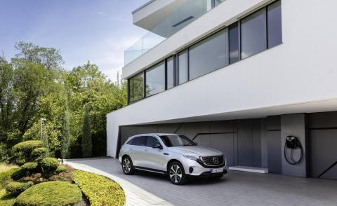 Side facing view of Mercedes Benz EQC 400 electric car