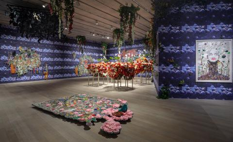 Ebony G Patterson's ornate night garden of toxic silk flowers and neo-baroque tapestries