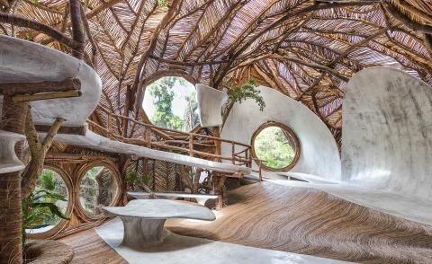 Artists' earthly creations take over treehouse gallery Ik Lab in Tulum