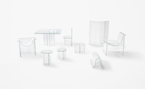 Nendo unveils gravity-formed Melt furniture for WonderGlass