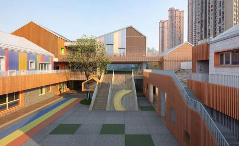 Colourful kindergarten in China inspires creativity through materials and identity