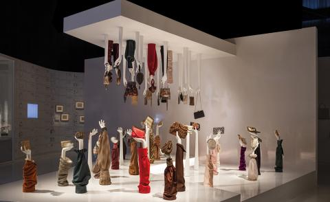 Interior view of an exhibit at Delvaux Museum in Brussels