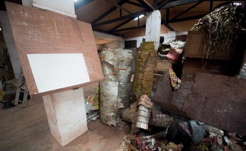 El Anatsui at his Nsukka studio with new works
