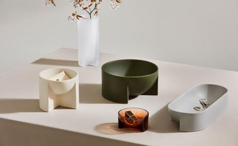 Philippe Malouin glass and ceramic bowls in green, cream and grey