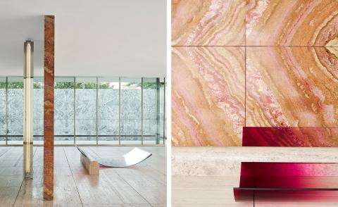 Sabine Marcelis' seamless intervention at the Mies van der Rohe Barcelona Pavilion
